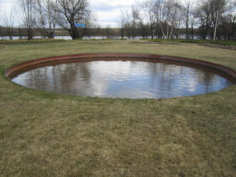 большой участок жуковка газон водоем круглый пруд ива белая береза цветники весна