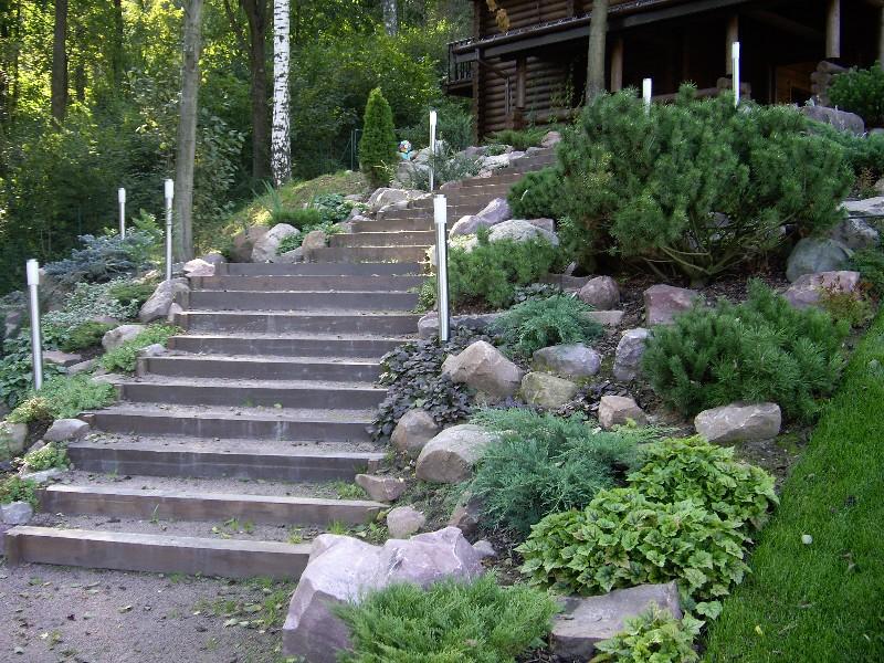 лесной участок на склоне лестница деревянные ступени из бруса баня сосна горная камни валуны светильник садовый новогорск 2 можжевельник