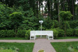 лесной участок орех серый клен глобозум скамья садовая светильник садовый живая изгородь из туи нагорье