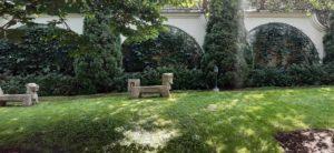 лев гранитная садовая скульптура екатериновка осень газон туя западная смарагдт виноград девичий