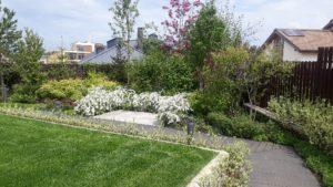 современный сад дорожка из дпк спирея японская живая изгородь издерена подпорные стенки из бетона садовые светильники ирга канадская пестово