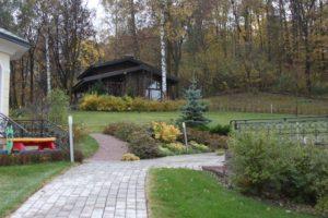 средний лесной участок осень новогорск 2 баня тротуарная плитка газон ель колючая голубая липы