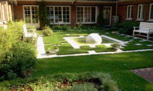 средний участок современный дизайн внутреннего дворика фонтан сфера садовые скамьи спирея серая нагорье
