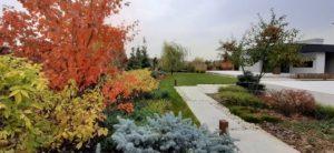 средний участок современный сад дорожка из бетонных плит светильники садовые газон подпорная стенка из бетона пестово